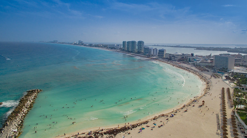 Cancun beach aerial view (Cancun Strand Luftbild)