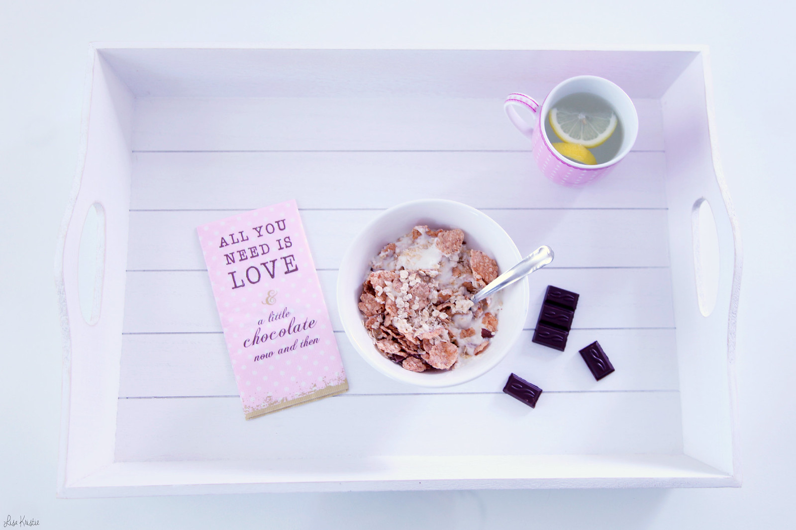 healthy snack bowl tray vanilla yogurt whole grain cereal oatmeal dark chocolate lemon tea pink cup clayre & eef white wooden girly paper napkin all you need is love and a little bit of chocolate now and then recipe home lifestyle blog
