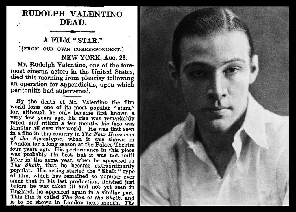 Image result for the death of movie star rudolph valentino
