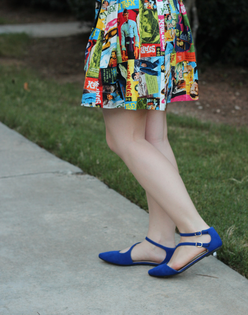 Pleated Star Trek Print Skirt with Blue Flats