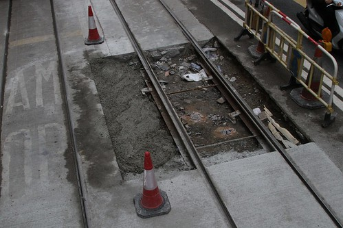 Steel tie bars link the two rails, concrete yet to be poured