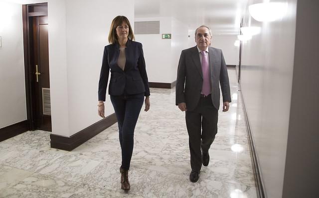 Idoia Mendia e Iñaki Arriola analizan la marcha de la negociación presupuestaria y los futuros acuerdos con el Lehendakari Urkullu y Andoni Ortuzar