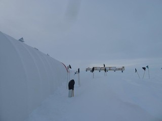 Photo of the drilling tent after its first winter-over at the South Pole. | by U.S. Ice Drilling