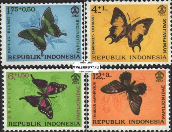 Známky Indonézia 1963 Motýle, nerazítkovaná séria