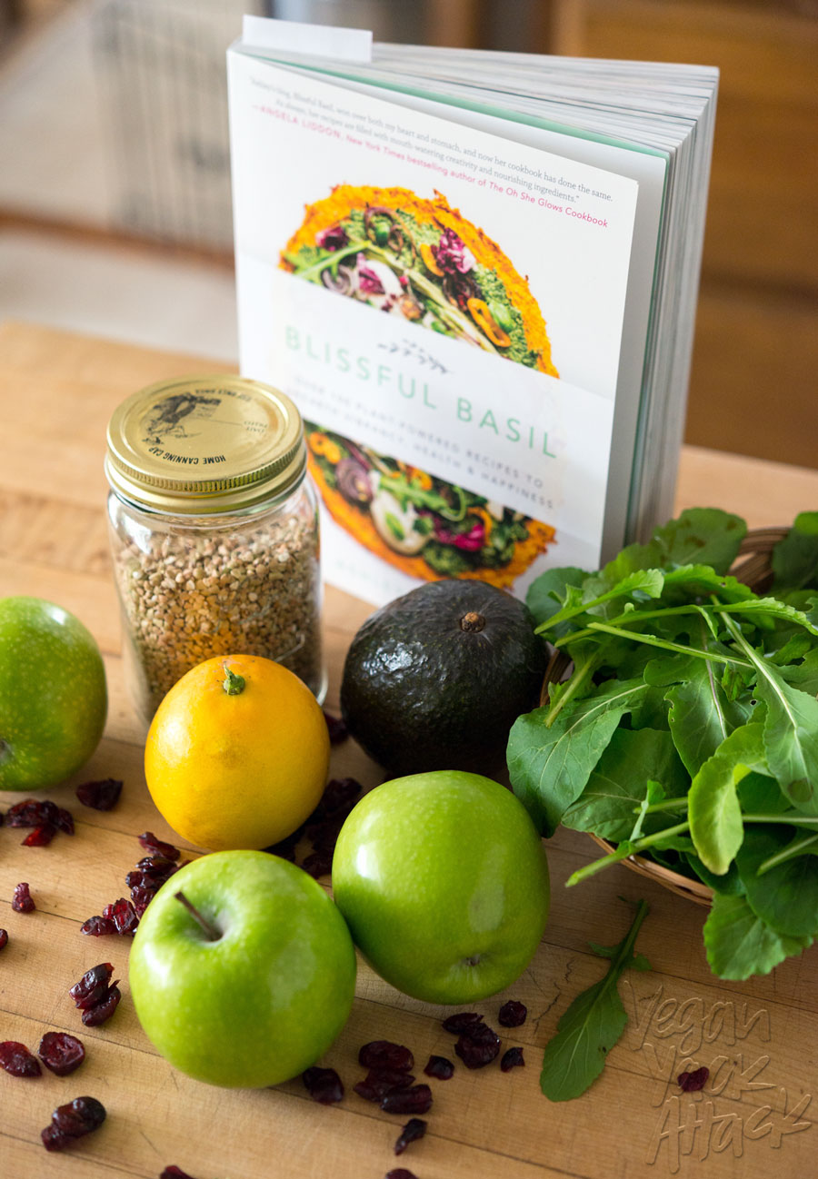 Buckwheat Green Apple Cranberry Avocado Salad - Sweet and savory, with creamy avocado to make this filling and refreshing! From the Blissful Basil cookbook #honoryourbliss #vegan #glutenfree #soyfree #nutfree