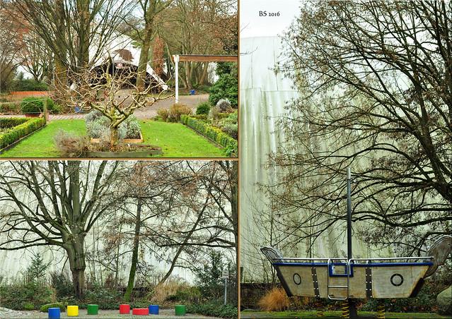 Multihalle Herzogenriedpark Mannheim Holzgitterschalenkontruktion Bundesgartenschau 1975 ... Fotos und Collagen: Brigitte Stolle, Dezember 2016