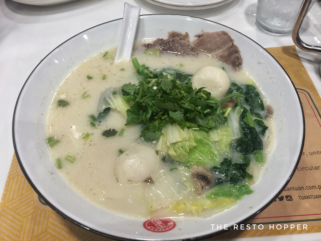 Tuan Tuan's Watercress and Almond Fish Soup with Fish Balls, Sliced Beef Brisket and Rice Vermicelli