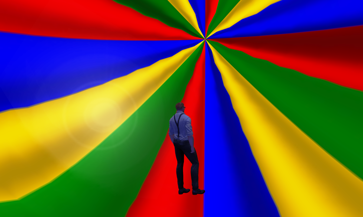 Ricco trapped in a giant colorful ball