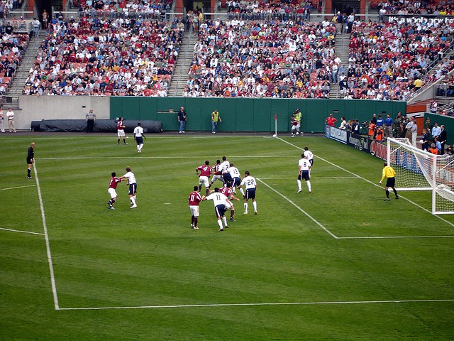 a team defending set pieces
