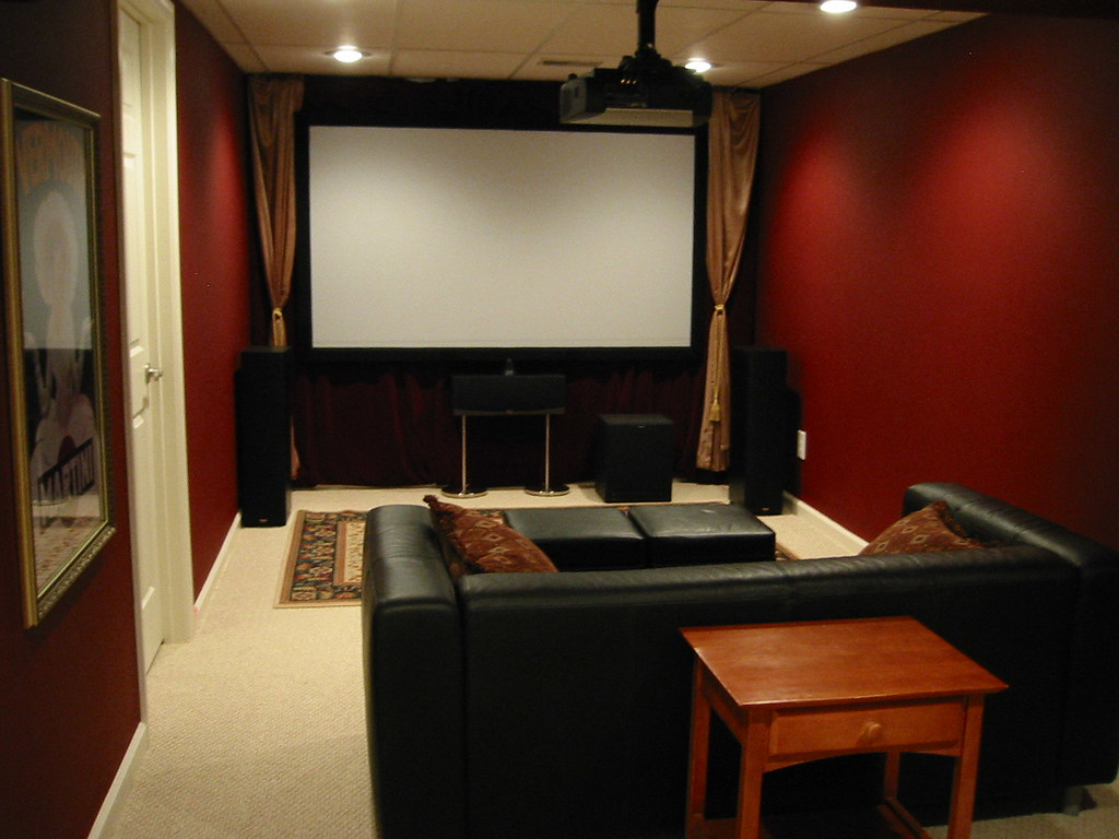 Here is another photo of the movie room the movie screen for Small room 7 1 setup