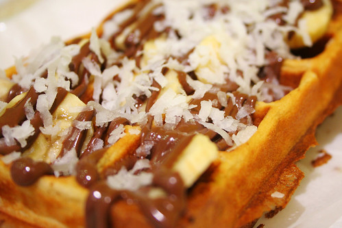 waffle with nutella, banana, and coconut flakes | by roboppy