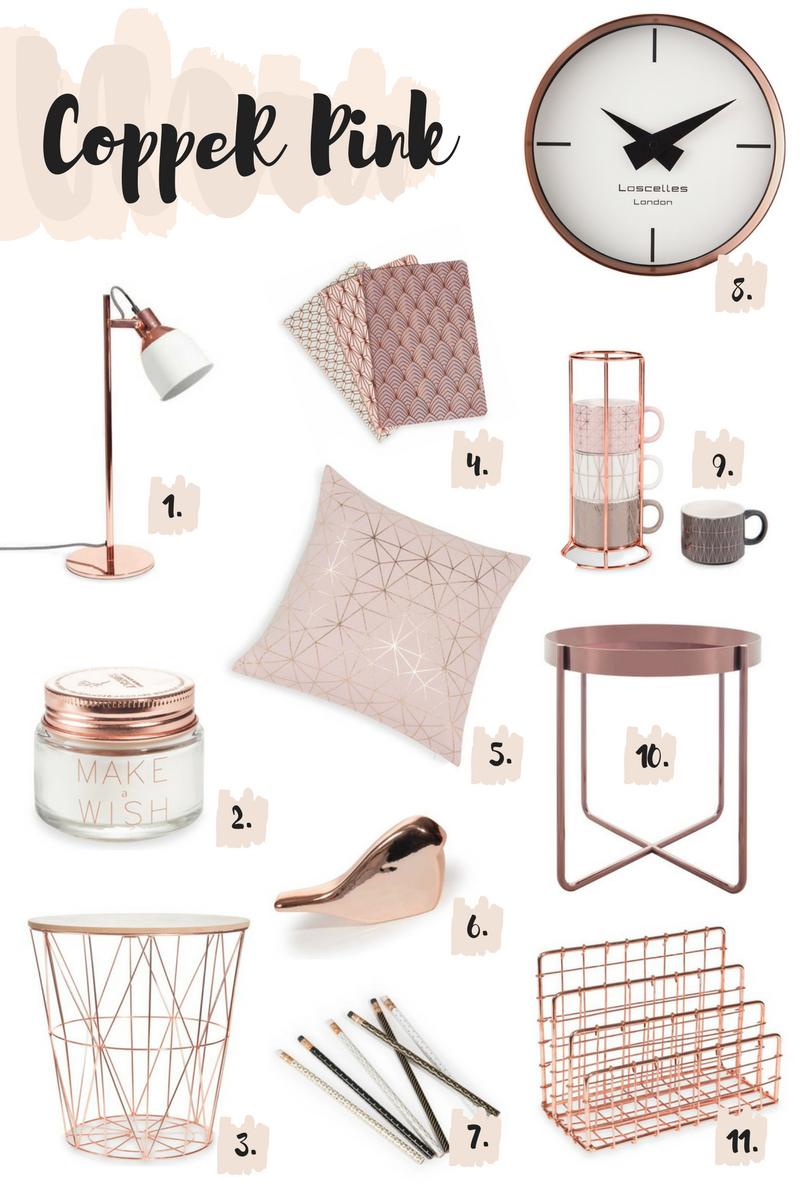 copper pink decor