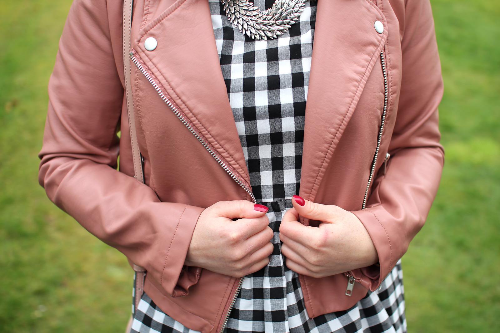 gingham print dress pink leather jacket fashion blogger uk