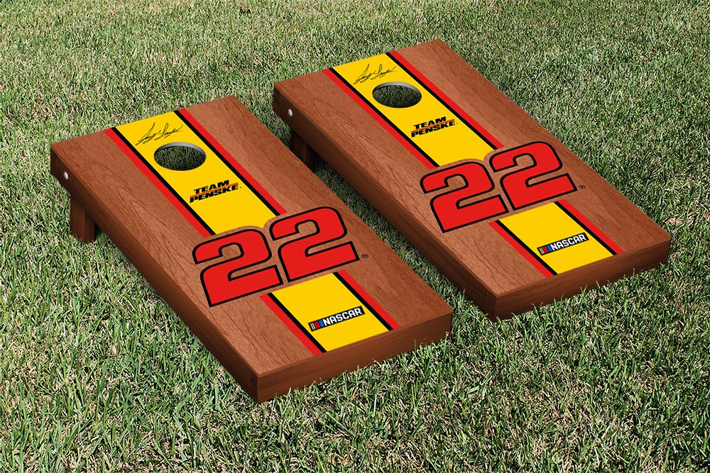 JOEY LOGANO #22 CORNHOLE GAME SET ROSEWOOD STAINED STRIPE VERSION (1)