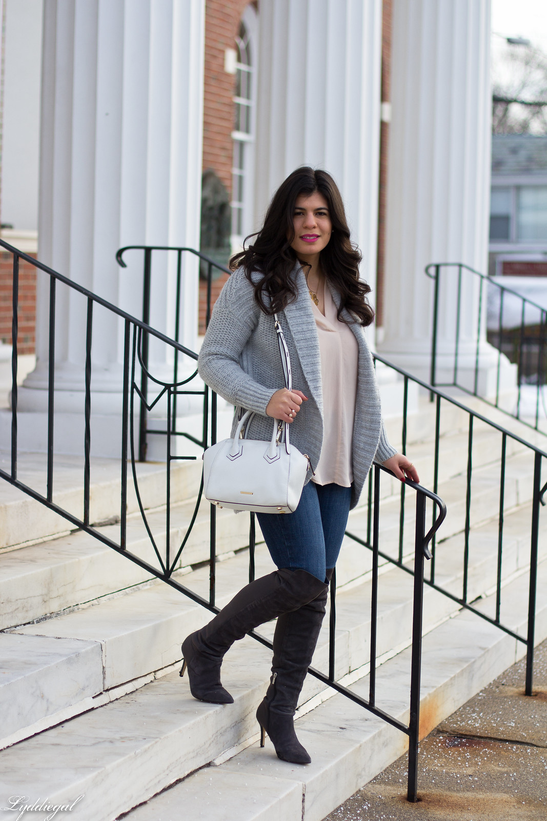 grey cardigan, over the knee boots, blush blouse-5.jpg