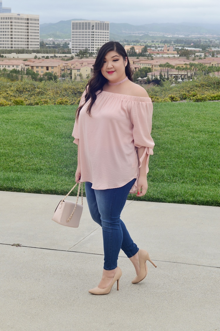 Curvy Girl Chic Plus Size Kohl's Off Shoulder Top Outfit
