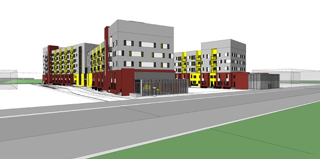 Architectural sketch of Londonderry affordable housing redevelopment in Edmonton