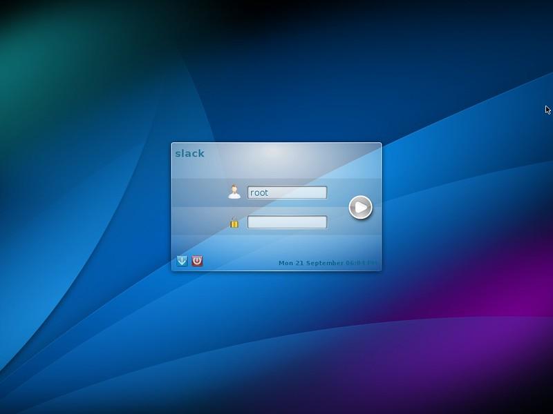 Экран ввода пароля KDE