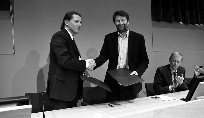 Torino, 12 novembre 2015: il Presidente ANMS, Fausto Barbagli e il Ministro dei Beni e delle Attività Culturali