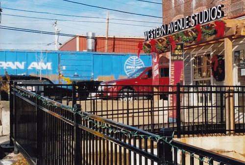 Train parked alongside Western Ave