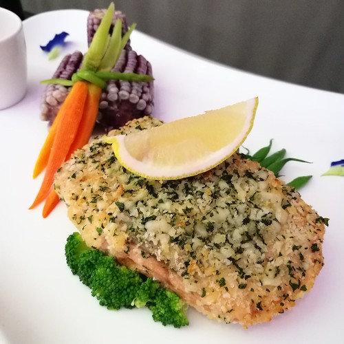 DavaoFoodTripS.com photo | Parmesan Crumbed Salmon in Misto at Seda Abreeza Hotel