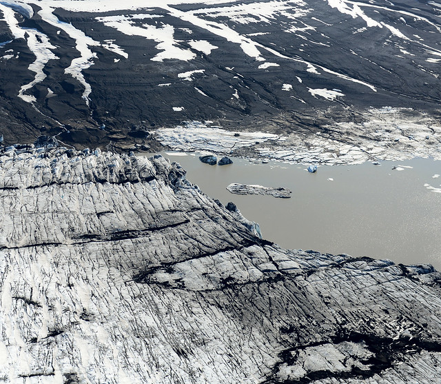 Panorámica aérea de Graenalon Lagoon