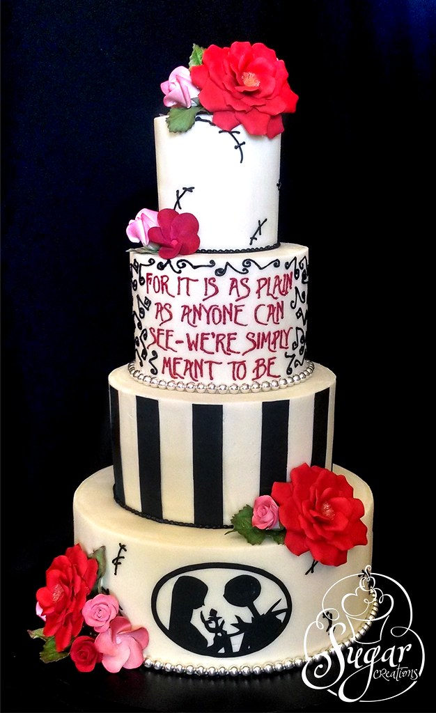 nightmare before christmas wedding cake by rebeccasutterby