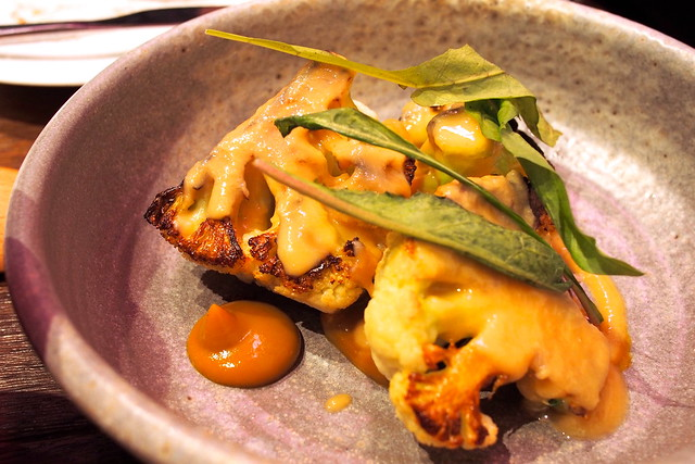 cauliflower with burnt butter tahini and piccalilli. Drew Nocente, Salted and Hung, Purvis Street, Singapore