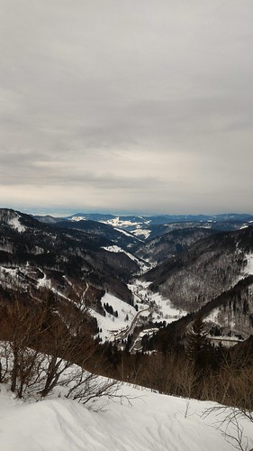 View of Upper Wiesental - Winter hike in Feldberg area, Black Forest, Baden, Germany