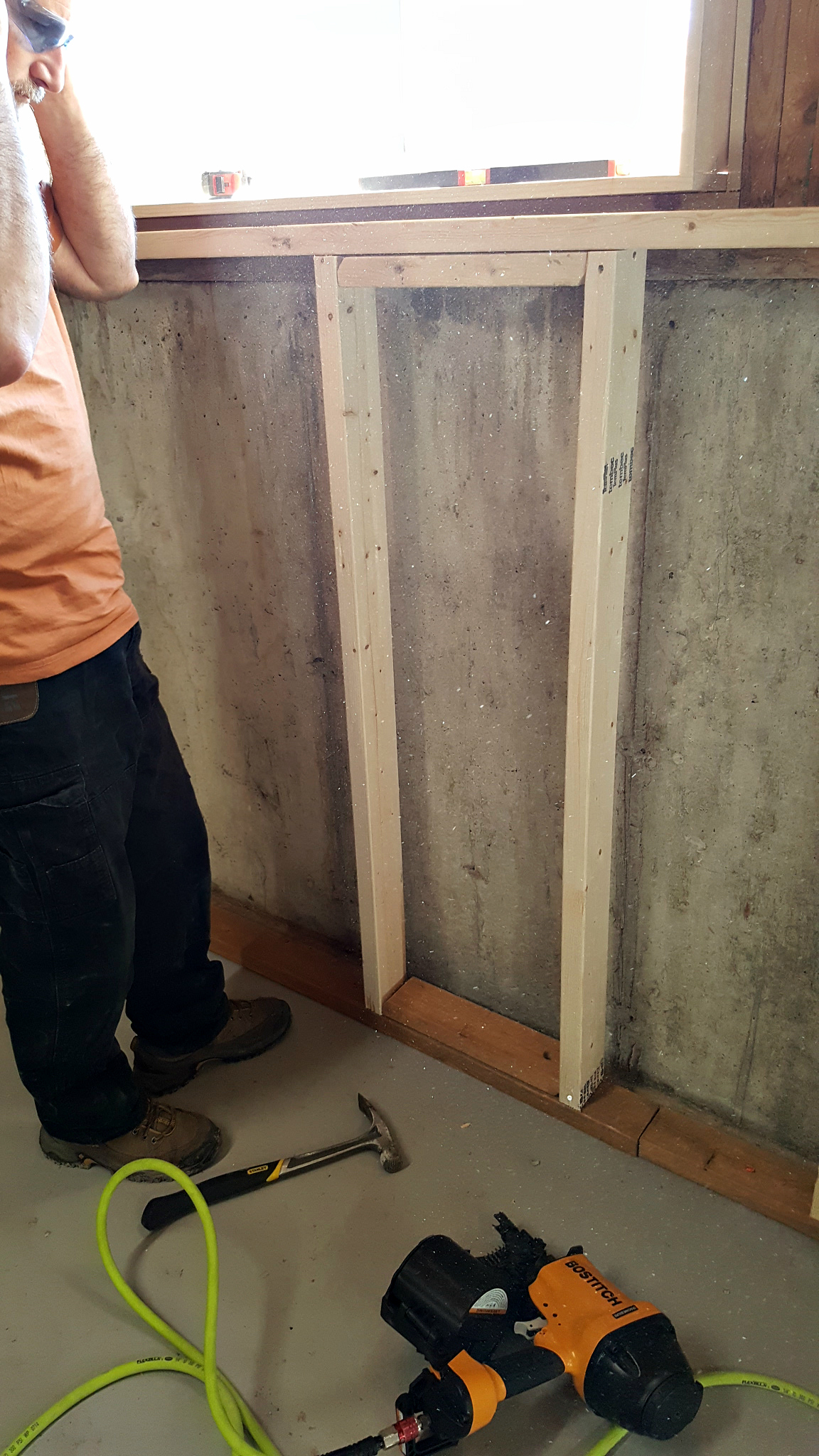 basement framing and spray foam insulation - window framing