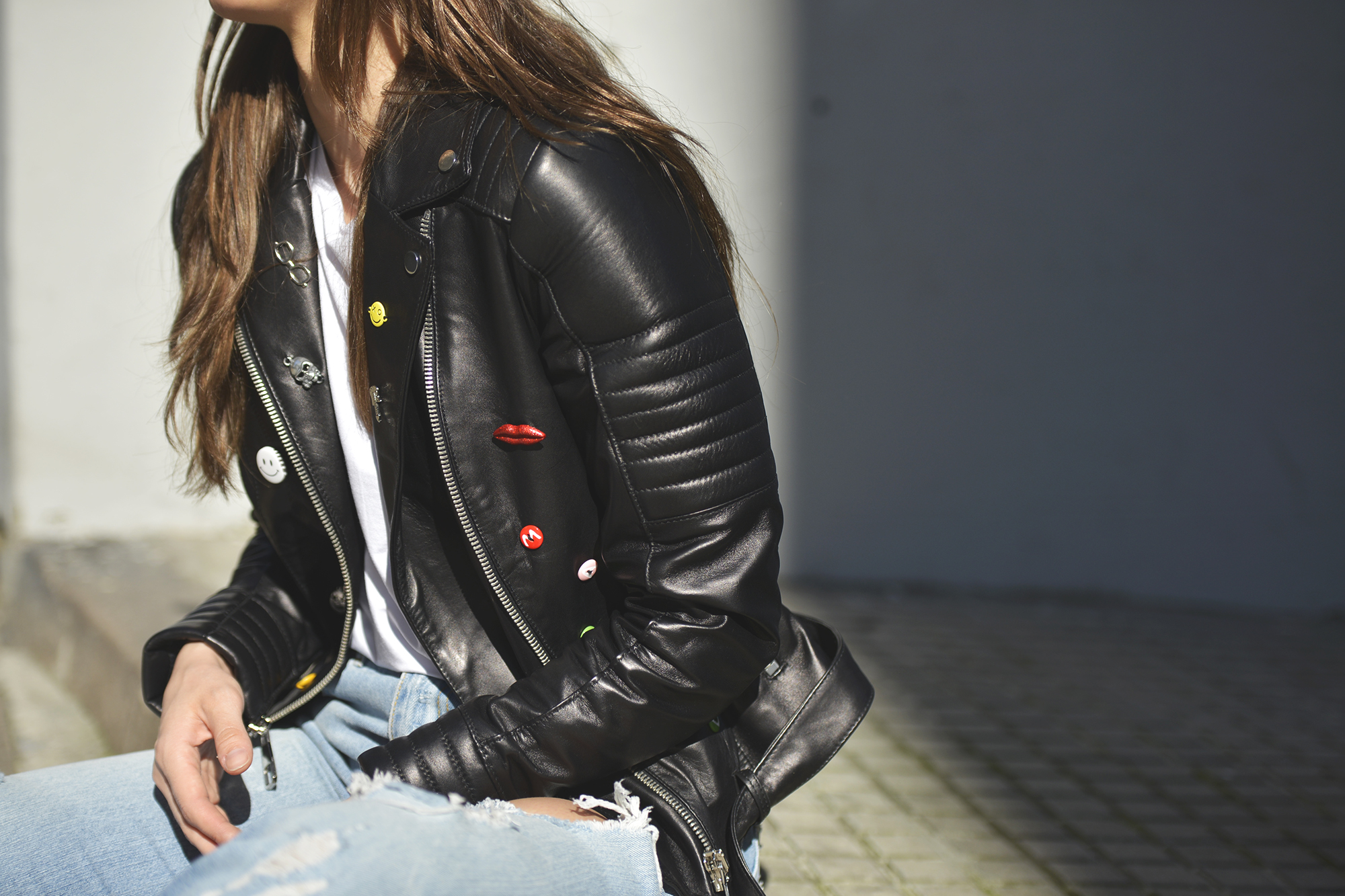 Leather pins jacket