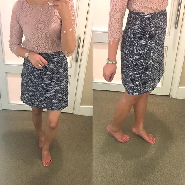 LOFT Tweed Side Button Skirt, size 0 regular