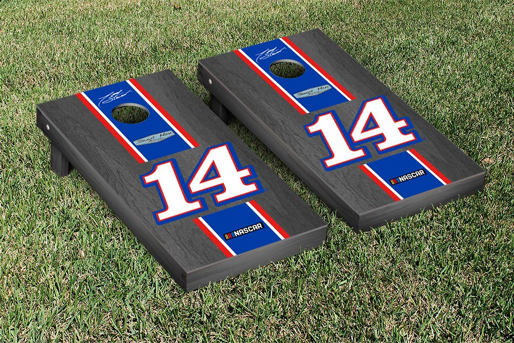 TONY STEWART #14 CORNHOLE GAME SET ONYX STAINED STRIPE MOBILE VERSION (1)