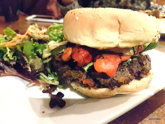 vegetarian house made black bean patty burger