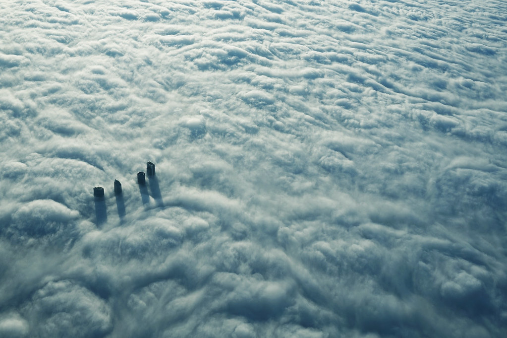 Las Cuatro Torres de Madrid entre la niebla The Four Towers of Madrid in the mist skyline