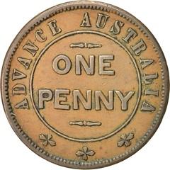1850s Advance Australia Penny Token obverse