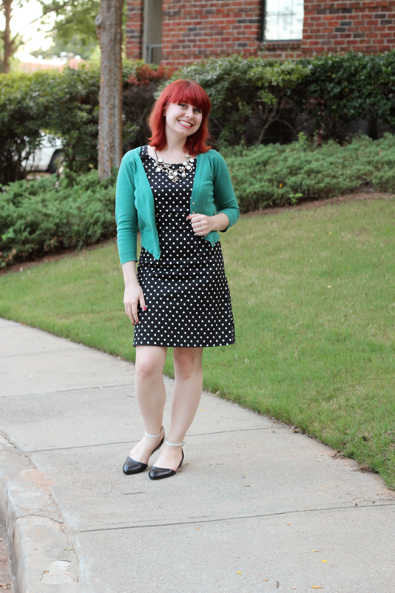 Polka Dot Shift Dress, Tree Branch Statement Necklace, and a Teal Cardigan