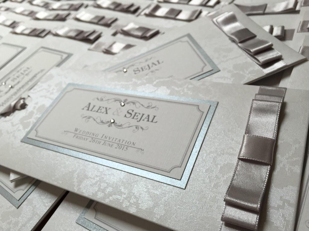 Silver pocket vintage style wedding invitation handmade by… | Flickr