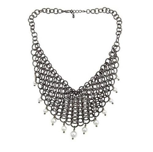 Alexandra Beth silver bib-style necklace.
