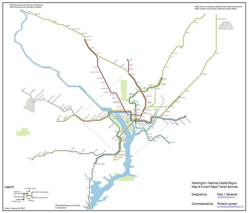 Integrated rail transit map for the Washington DC Metropolitan area