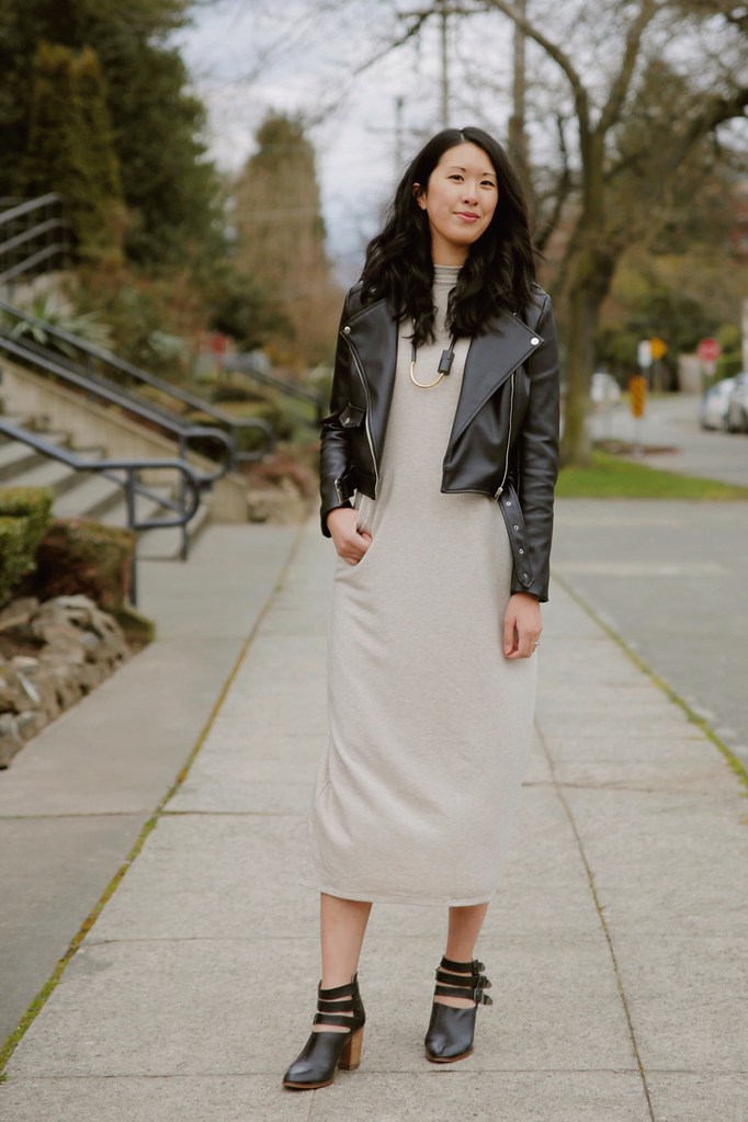 minimalist outfit idea: mockneck midi dress and moto leather jacket