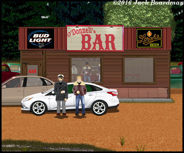 Boomer and Braddock arrived at O'Donnel's Bar ©2016 Jack Boardman