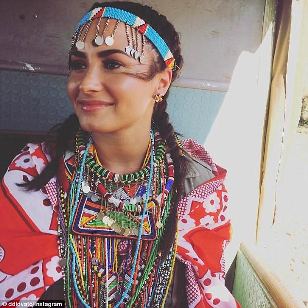 Demi Lovato in Maasai necklaces, Demi Lovato in Maasai beaded headband, colorful beaded necklaces, Demi Lovato in traditional Masai clothing, Masai clothing, Masai necklaces, Masai beaded earrings, Masai beaded headband, Masai beaded necklaces