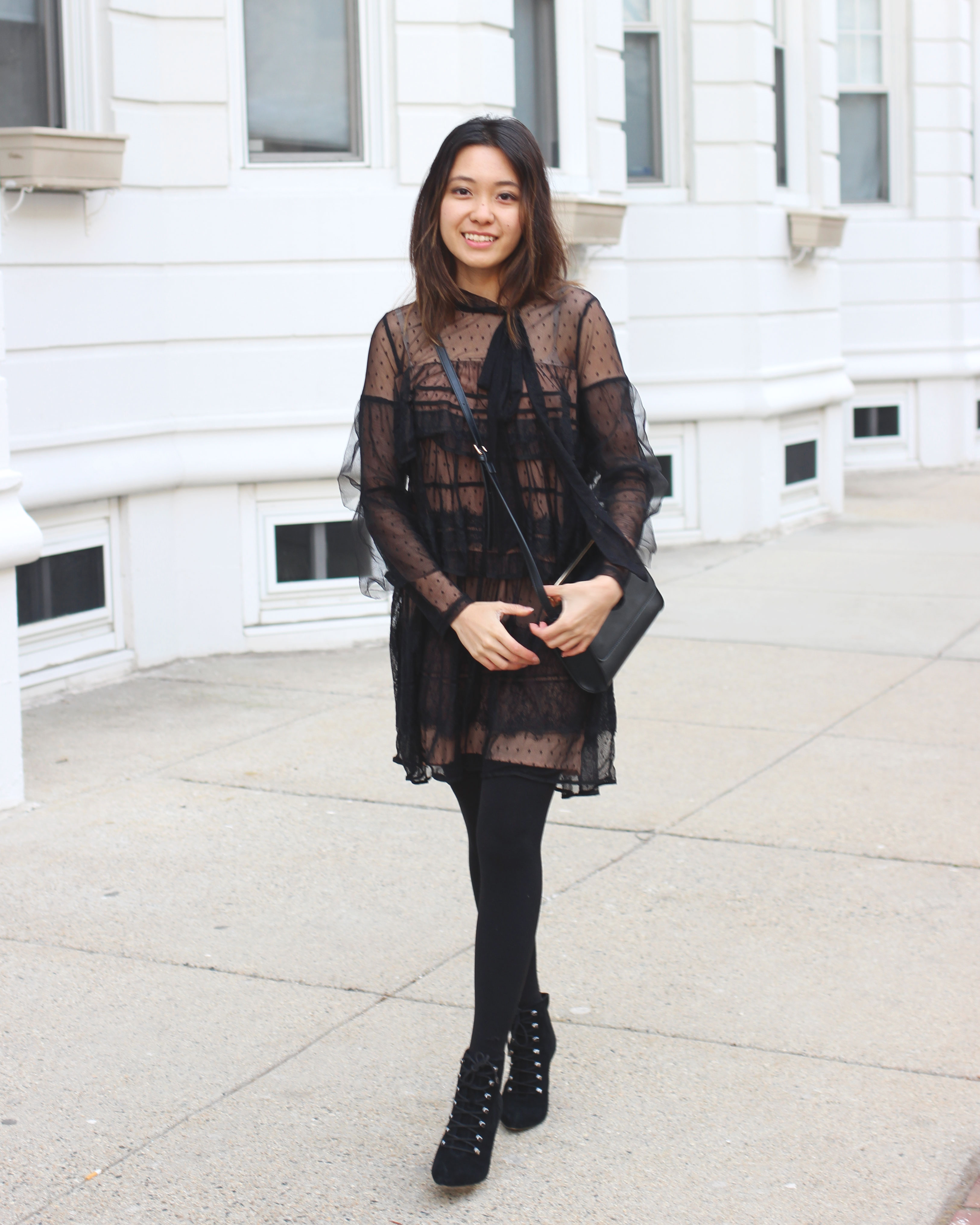 Sheer ruffle tiered lace dress with necktie