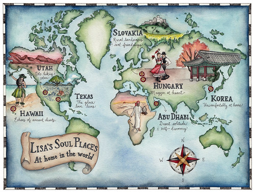 A hand-drawn map I created for Lonely Planet travel writer Lisa Dunford. Artist Candace Rose Rardon