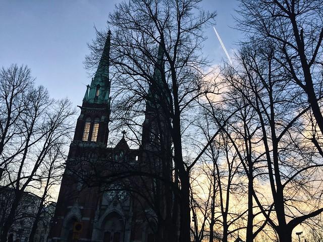 JohanneksenkirkkoWInterHelsinkiSunset, helsinki, finland, suomi, talvi, winter, auringonlasku, sunset, johanneksen kirkko, ullanlinna, keskustas, tarvel, matkustaa,