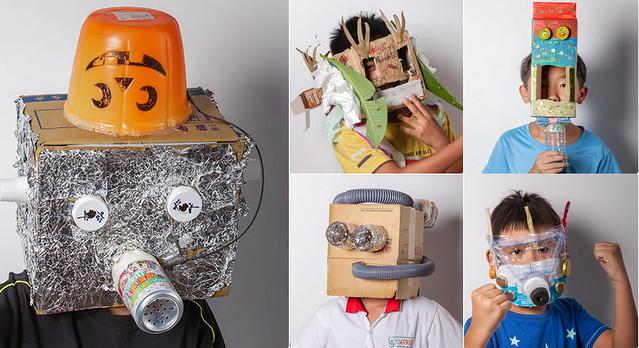 學童自製防毒面具,表達空汙問題危害性。照片提供:遠傳電信。