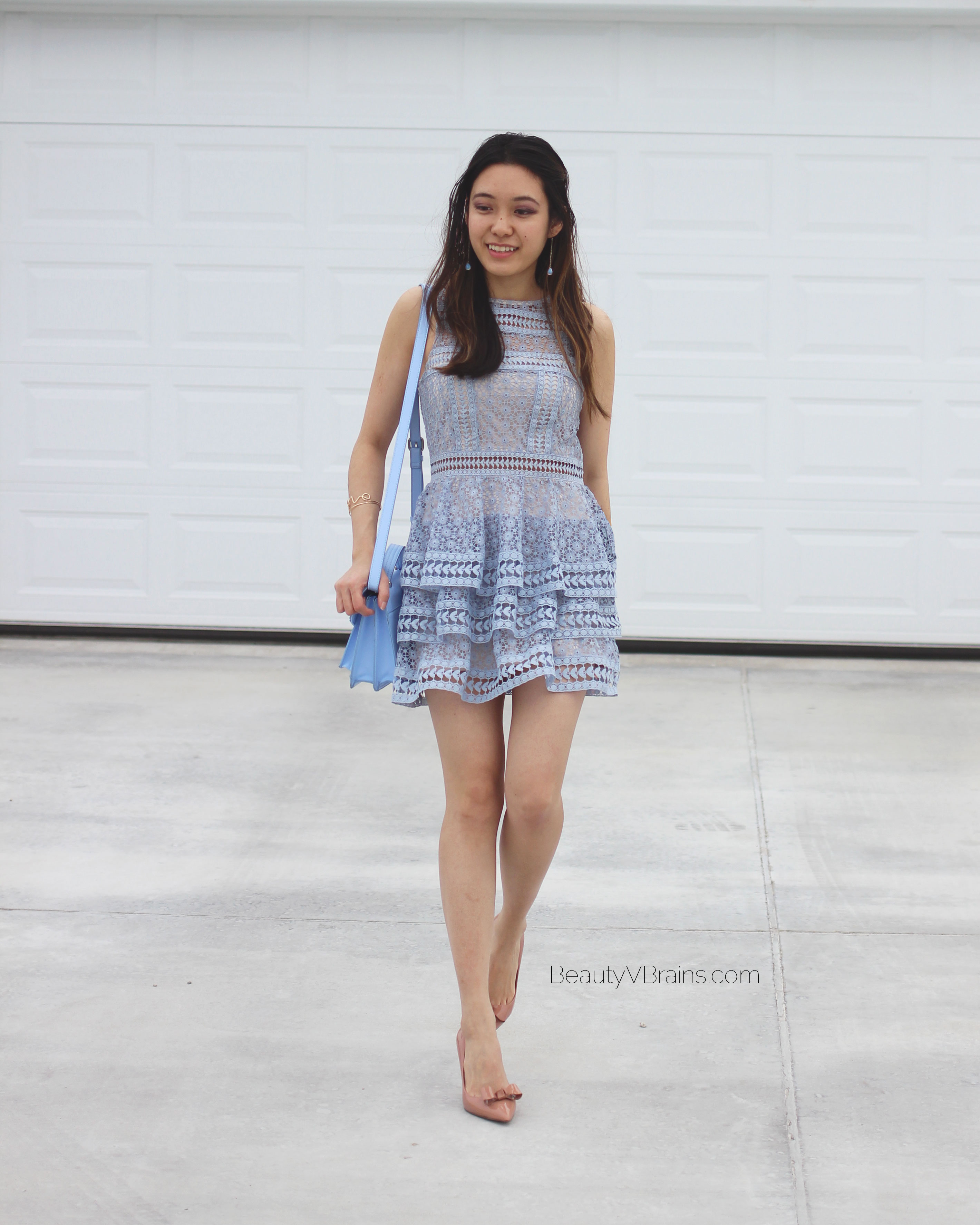 Blue lace tiered ruffle Express dress for Valentine's Day