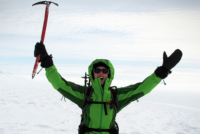 Lanza at the summit of Hvannadalsnukur, the highest mountain in Iceland, practicing glacier travel techniques similar to those needed for Antarctic fieldwork.