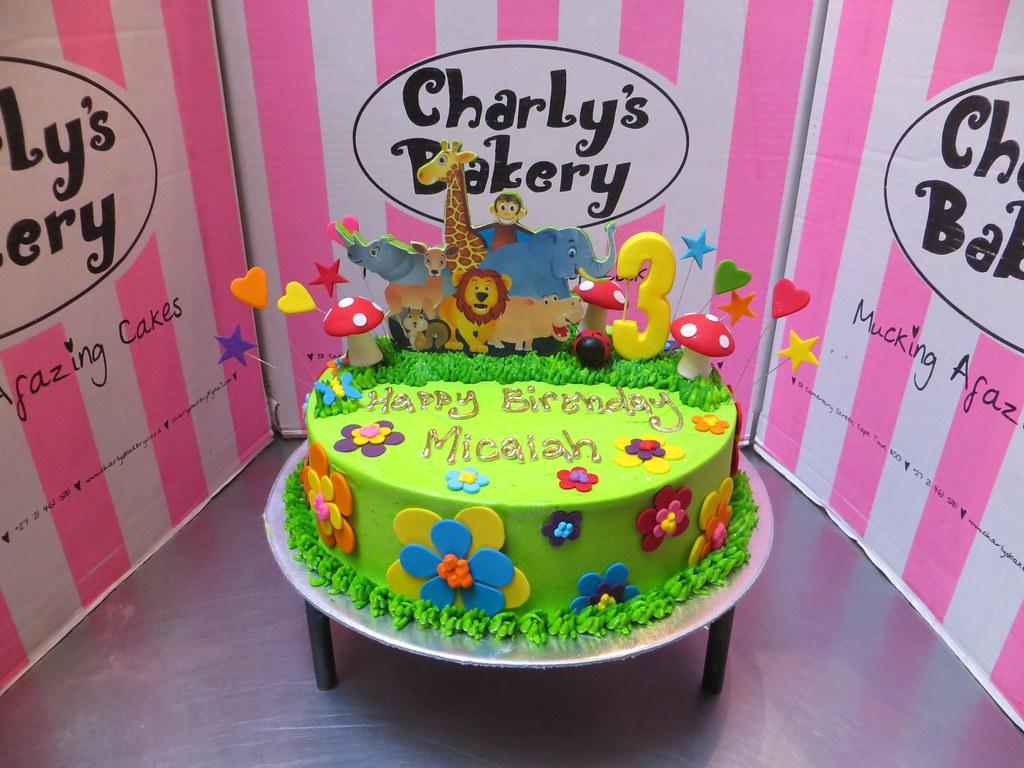 Safari Animals Themed 3rd Birthday Cake With Edible Mounte Flickr